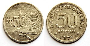 Coins of the rupiah - Obverse: Greater bird-of-paradise on a branch and face value.