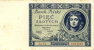 5 złotych banknote, averse (Poland, 1930).jpg