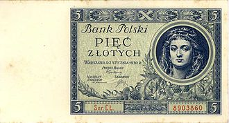 Bank of Poland - Polish 5 Zloty Banknote of Polski Bank (1930)