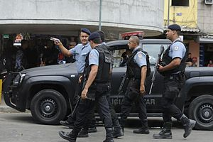 Military Police of Rio de Janeiro State - Police officers in the favela of Rocinha.