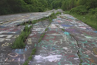 Centralia, Pennsylvania - Road damage and graffiti on abandoned section of PA Route 61