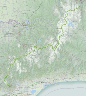 Australian Alps Walking Track - Map of the Australian Alps Walking Track.