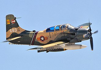 Douglas A-1 Skyraider - An A-1E Skyraider in VNAF colors over the Chino Air show in 2014