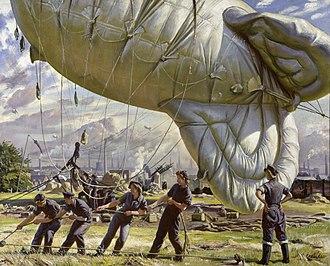 Laura Knight - A Balloon Site, Coventry (1943) (Art. IWM ART LD 2750)