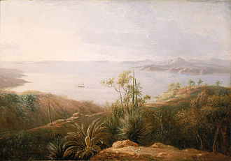 Lucky Bay - A Bay on the South Coast of New Holland, an early 19th-century oil painting of Lucky Bay by William Westall.