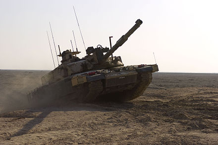 A Royal Scots Dragoon Guards Challenger 2 climbing an obstacle during a training exercise 17 Nov 2008, in Basra, Iraq