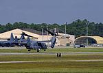 A U.S. Air Force CV-22 Osprey tiltrotor aircraft takes off from Hurlburt Field, Fla., Oct. 3, 2013 131003-F-RS318-123.jpg
