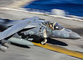A U.S. Marine Corps AV-8B Harrier aircraft assigned to Marine Medium Tiltrotor Squadron (VMM) 266, 26th Marine Expeditionary Unit (MEU) prepares to take off from the flight deck of the amphibious assault ship 131101-M-SO289-002.jpg