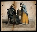 A convalescing soldier being reprimanded by his nurse for no Wellcome V0015125.jpg