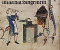 A farrier at work - Book of Hours (c.1320-1330), f.68v - BL Harley MS 6563.jpg