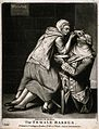 A female barber shaving a soldier. Mezzotint after J. Dixon. Wellcome V0019729.jpg