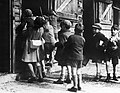 A group evacuees visit a farm during a nature walk from their billet at Dartington Hall in Totnes, Devon during 1941. D3106.jpg