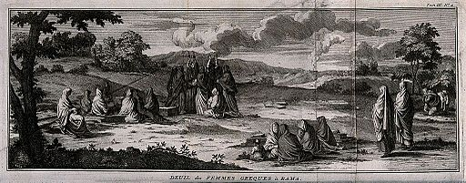 A group of Greek women lamenting and mourning the dead at a Wellcome V0042323