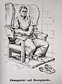 A mental ill patient in a straight jacket and strapped into Wellcome V0016642.jpg