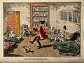 A nonchalant doctor dancing a jig amidst unhappy patients in Wellcome V0011031.jpg