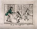 A street scene with a tall man offering snuff to a short, fa Wellcome V0019113.jpg