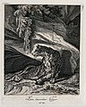 A tiger lying in wait for prey in a rocky landscape. Etching Wellcome V0021052ER.jpg