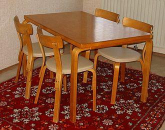 Huonekalu- ja Rakennustyötehdas - Table and chairs designed by the Aaltos