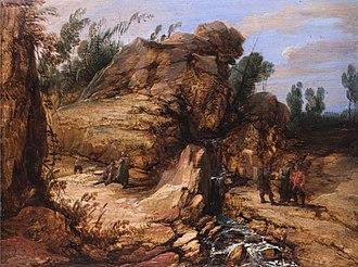 Lucas Achtschellinck - Rocky landscape with staffage figures