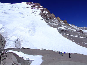 English: Polish Glacier on Aconcagua from 6000m.