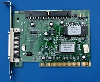 Conventional PCI - A typical 32-bit, 5 V-only PCI card, in this case, a SCSI adapter from Adaptec