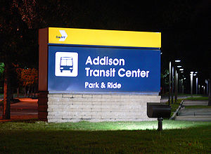 Addison Transit Center - Image: Addison Transit Center parking at night