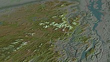 Aerial view, 3D computer generated image