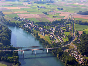 Aerial View of Hemishofen with the 2 Bridges across the Rhine 15.07.2008 16-40-21.JPG