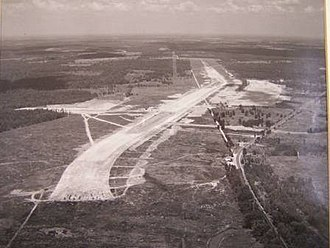Wright Patman Lake - An aerial photo of the Lake Texarkana Dam during the initial phase of construction in Bowie county, Texas looking north.