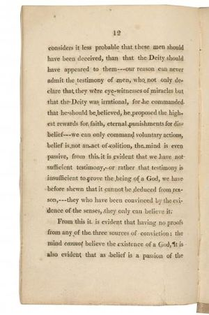 The Necessity of Atheism - A page from the 1811 Worthing printing. Bodleian Library.