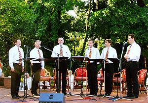 Affabre Concinui - Concert of Affabre Concinui in Poznań, 15 July 2007 (from left to right: Robert Hylla, Leszek Marciniak, Przemysław Czekała, Piotr Lewandowski, Piotr Dziurla, Artur Hoffmann)