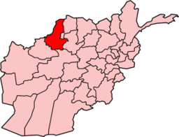Map of Afghanistan with Faryab highlighted