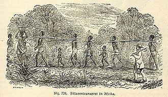 Afro-Puerto Ricans - Slave transport in Africa, depicted in a 19th-century engraving