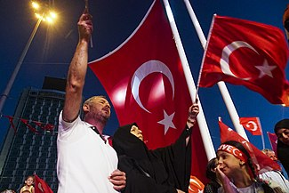 After coup nightly demonstartion of president Erdogan supporters at Taksim square. Istanbul, Turkey, Eastern Europe and Western Asia. 19 July,2016.jpg