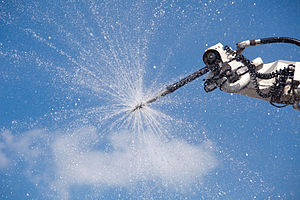 Airport crash tender - Spray nozzle in use on airport crash tender