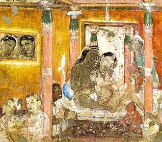 Nanda (half-brother of Buddha) - Palatial life of Nanda before conversion, veranda of Cave 17 of Ajanta Caves.
