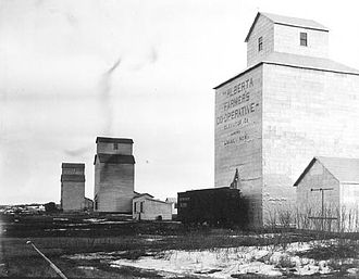 Viking, Alberta - Alberta Farmers Cooperative Elevator company elevator, Viking, Alberta 1913.