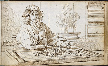 Album amicorum Jacob Heyblocq KB131H26 - p249 - Jan de Bray - Drawing - Chess player.jpg