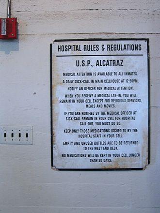 Alcatraz Hospital - Posted hospital rules.