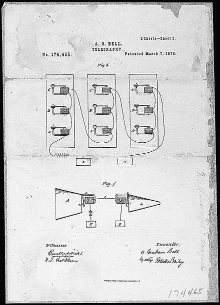 Alexander Graham Bell's telephone patent drawing, March 7, 1876 TelephonePatentDrawingBell.jpg