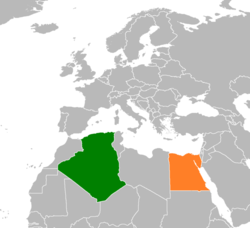 Map indicating locations of Algeria and Egypt