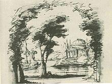 Bühnenbild, wahrscheinlich für Amor d'un ombra Akt I von Domenico Scarlatti (Rom 15. Januar 1714), Entwurf von Filippo Juvarra (Quelle: Wikimedia)