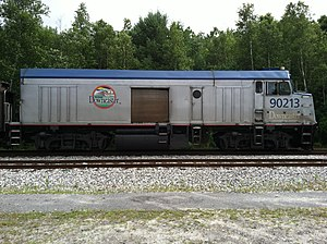 Control car - An Amtrak Downeaster NPCU in Brunswick, Maine