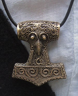 Heathenry (new religious movement) - Image: Amulet Thor's hammer (copy of find from Skåne) 2010 07 10