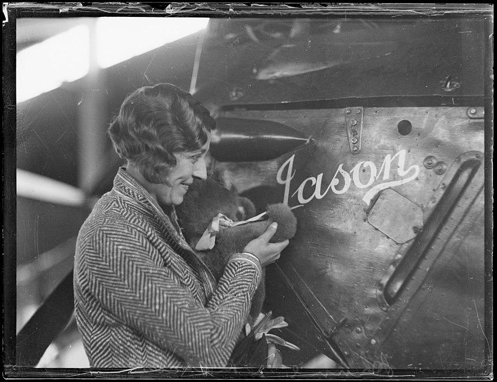 English aviator Amy Johnson in Australia with her airplane 'Jason', June 1930.