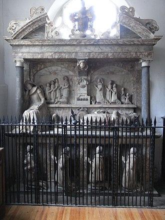 "Manor of North Molton - Monument to Sir Amyas Bampfylde (d.1626), south wall of south aisle chapel (""Bampfylde Chapel"")"