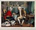 An old gentleman visitor offering snuff to an old woman at h Wellcome V0019109.jpg
