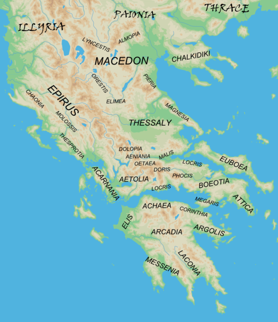 "Map showing the major regions of mainland ancient Greece and adjacent ""barbarian"" lands. Ancient Regions Mainland Greece.png"