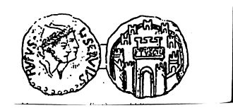 Tusculum - Ancient Roman Republic gold coin of L. Servius Rufus, 44-43 BC. A Dioscuri figure is on the on left, Tusculum fortress being shown on right.