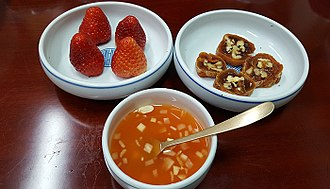 Sikhye - Andong-sikhye with gotgam-mari and strawberries